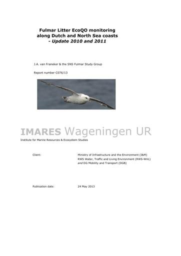 Van Franeker et al. (2013). Fulmar Litter EcoQO monitoring along Dutch and North Sea coasts - Update 2010 and 2011