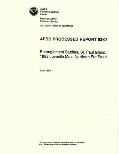Fowler, C. W., J. D. Baker, R. Ream, B. W. Robson and M. Kiyota (1993). Entanglement studies on juvenile male northern fur seals, St. Paul Island, 1992. Alaska Fisheries Center. AFSC Processed Report No. 93-03.