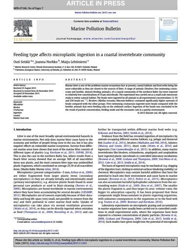Setala et al. (2016). Feeding type affects microplastic ingestion in a coastal invertebrate community