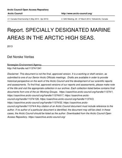 Specially Designated Marine Areas in the Arctic: Part I