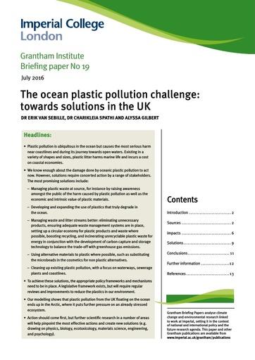 Van Sebille et al. (2016). The ocean plastic pollution challenge: towards solutions in the UK