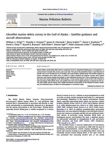 Pichel et al. (2012). GhostNet marine debris survey in the Gulf of Alaska – Satellite guidance and aircraft observations