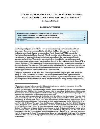 Background document - Ocean Governance