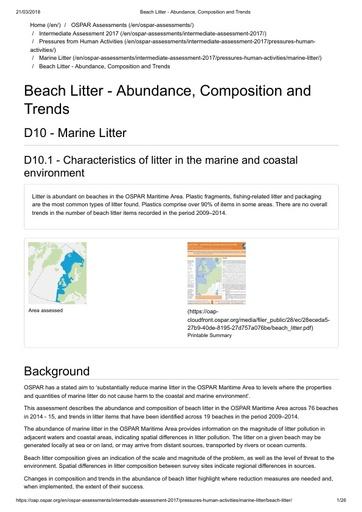 OSPAR Commission (2017). Beach Litter - Abundance, Composition and Trends