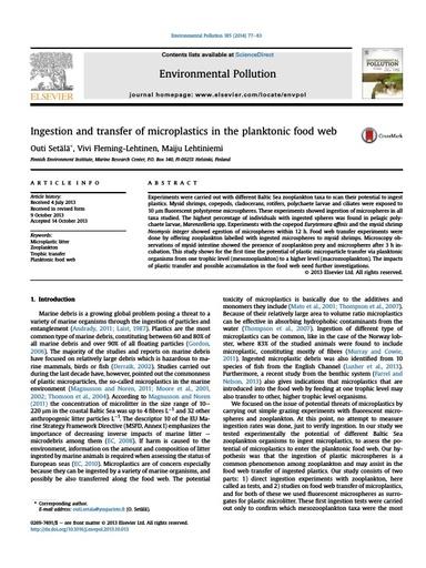 Setala et al. (2014). Ingestion and transfer of microplastics in the planktonic food web