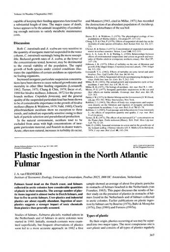 Van Franeker (1985). Plastic Ingestion in the North Atlantic Fulmar