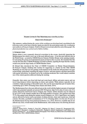 CIESM (2014). Marine litter in the Mediterranean and Black Seas (Executive Summary). CIESM. CIESM Workshop Monographs No. 46. Monaco: 180.