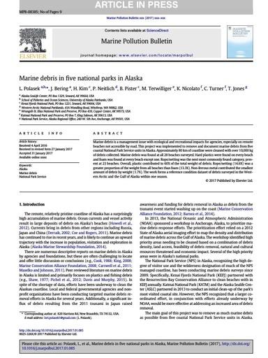 "Polasek, L., et al. (2017). ""Marine debris in five national parks in Alaska."" Marine Pollution Bulletin 117(1): 371-379."